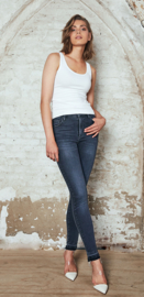 Homage - Cropped Slim Jeans Raw Edge - Greyisch Blue