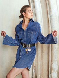 Homage - Trumpet Sleeve Denim Dress - Mid Blue