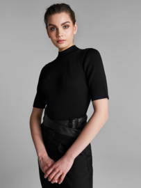 Homage - Knitted High Neck Top - Black