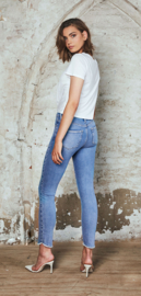 Homage - Cropped Slim Jeans Scalopped Edge - Light Vintage