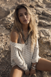 Moost Wanted - Striped Sweater Amelie - Beige