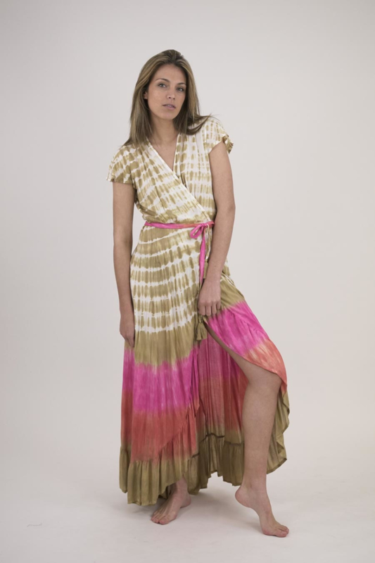 Mele Beach - Maxi Wrap Dress Tye Dye - Rose
