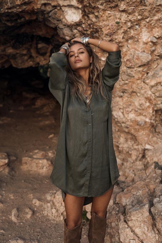Moost Wanted - Solar Satin Dress - Sensual Green