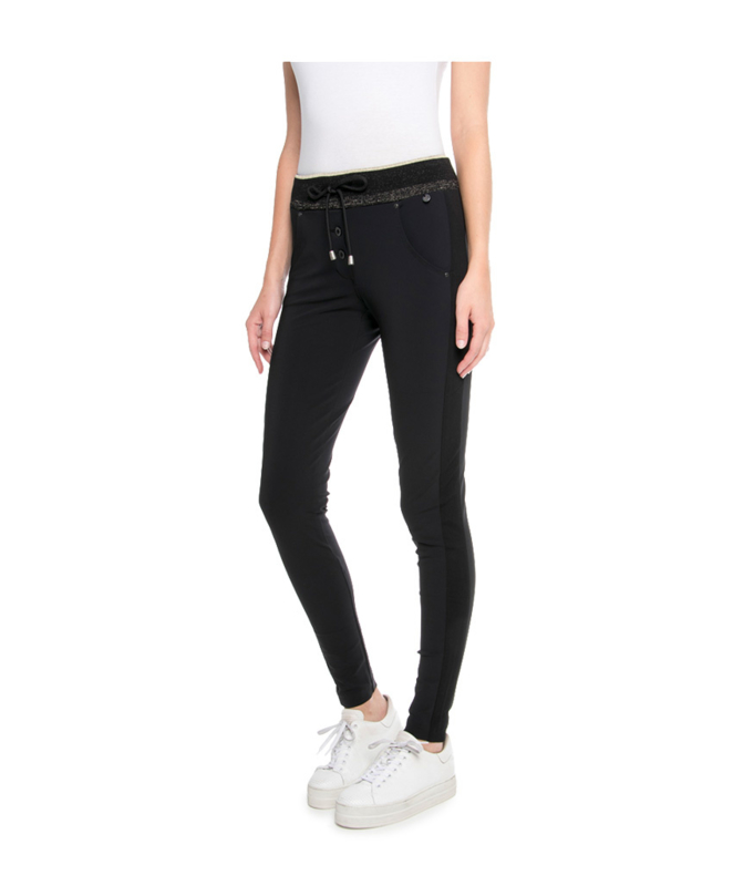 ZIP73 - Trousers - Black/Champagne