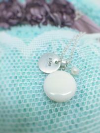 Moedermelk hanger- en ketting rond platte achterzijde
