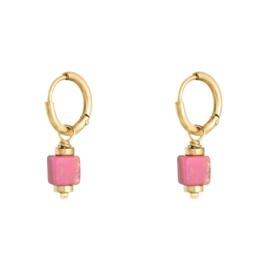 Oorringetjes steentje - roze & goud
