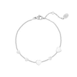 Armband hartjes- zilver