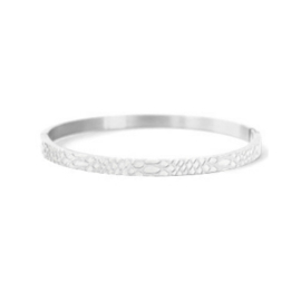 Bangle slangeprint -zilver
