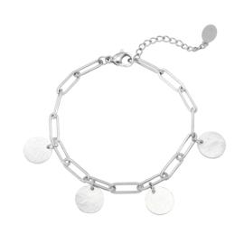 Armband muntjes - zilver