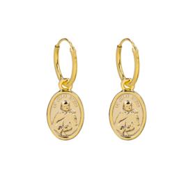 Oorringetjes ovaal muntje - goud
