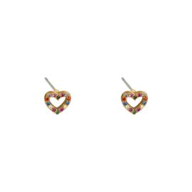 Oorknopjes hartje met gekleurde steentjes - goud