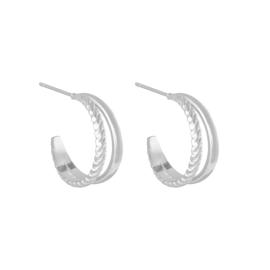 Oorringetjes dubbel fancy - zilver