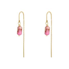 Oorringetjes ketting - roze & goud