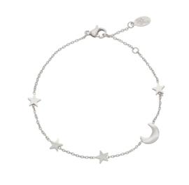 Armbandje sterretjes en maantje - zilver