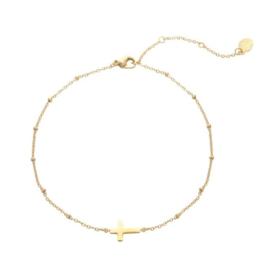 Armband kruisje - goud