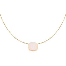 Ketting steen roze  - goud