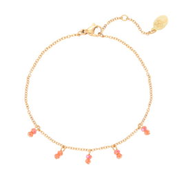 Bracelet little beads - Coral Gold