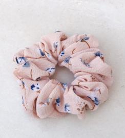 Scrunchie bloemetjes nude