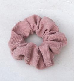 Scrunchie ribstof oud roze