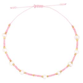 Enkelbandje pareltjes - roze