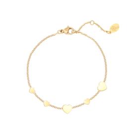 Armband hartjes - goud