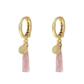 Oorringetjes roze kwastje - goud