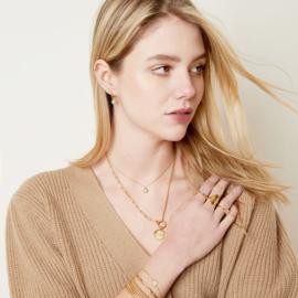 Armband daisy wit - goud