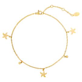 Enkelbandje zeester - goud