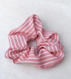 Scrunchie streepjes wit & roze