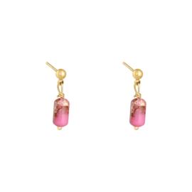 Oorknopjes hangertje - roze & goud
