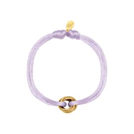 Satijnen armbandje lila - goud