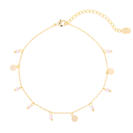 Enkelbandje muntjes & bedeltjes - roze & goud