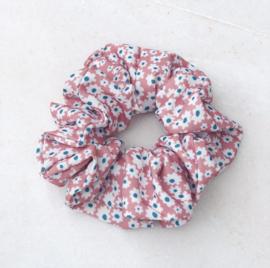 Scrunchie bloemetjes oud roze