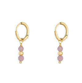 Oorringetjes kraaltjes - roze & goud