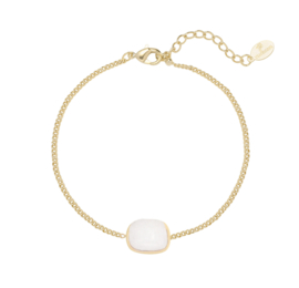 Armband wit steentje - goud