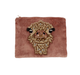 Velvet Pouch Ostrich