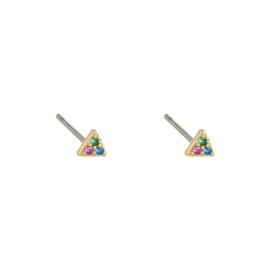 Oorknopjes driehoekje met steentjes - gekleurd & goud