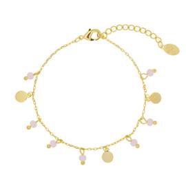 Armband roze steentjes - goud
