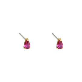 Oorknopjes druppeltje - roze & goud