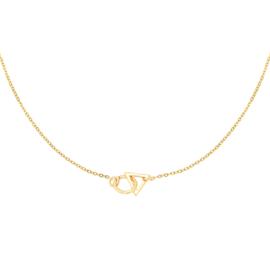 Ketting verbonden driehoek & rondje  - goud
