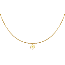 Ketting daisy wit -  goud
