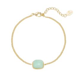 Armband mint groen steentje - goud