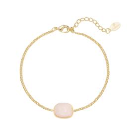 Armband roze steentje - goud