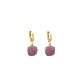 Stone Earrings - Pink & Gold
