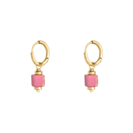 Oorringetjes blokje - roze & goud