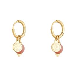 Oorringetjes muntje - roze & goud