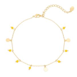 Enkelbandje muntjes & bedeltjes - geel & goud