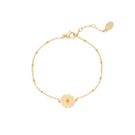 Armband bohemian peach - goud