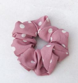 Scrunchie stippen oud roze