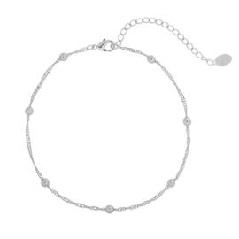 Enkelbandje kleine bolletjes - zilver